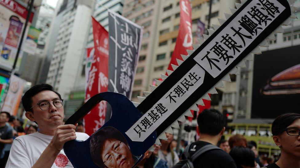 """特首林鄭月娥去年也提出稱為""""明日大嶼""""的大型填海計劃,但價格高昂在香港社會引發巨大爭議。"""