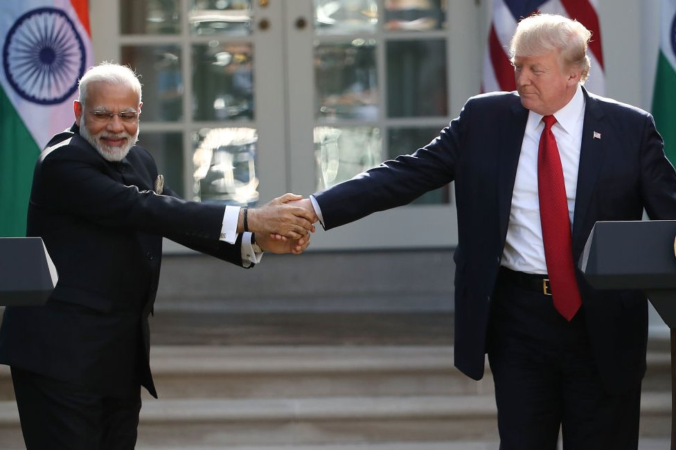 U.S. President Donald Trump and Indian Prime Minister Narendra Modi shake hands while delivering joint statements in the Rose Garden of the White House June 26, 2017