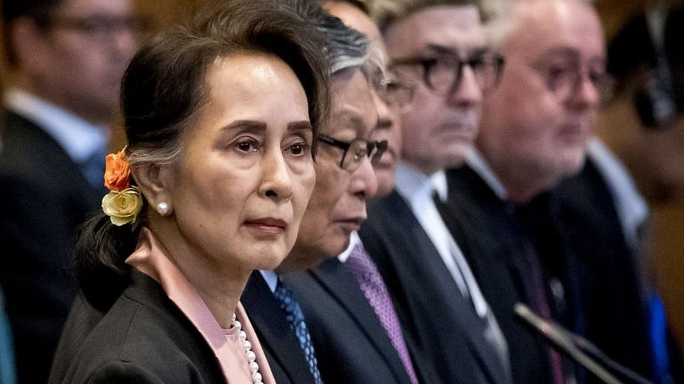 "Myanmar""s State Counsellor Aung San Suu Kyi stands before UN""s International Court of Justice on December 10, 2019 in in the Peace Palace of The Hague, at the start of a three-day hearing on Rohingya genocide case"