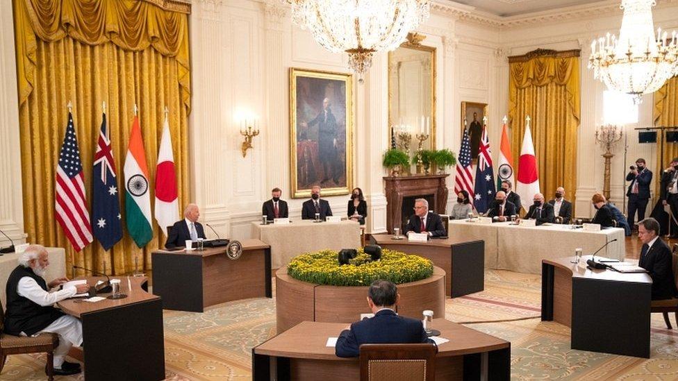 القمة الرباعية في الغرفة الشرقية بالبيت الأبيض في واشنطن العاصمة، الولايات المتحدة الأمريكية في 24 سبتمبر/أيلول 2021