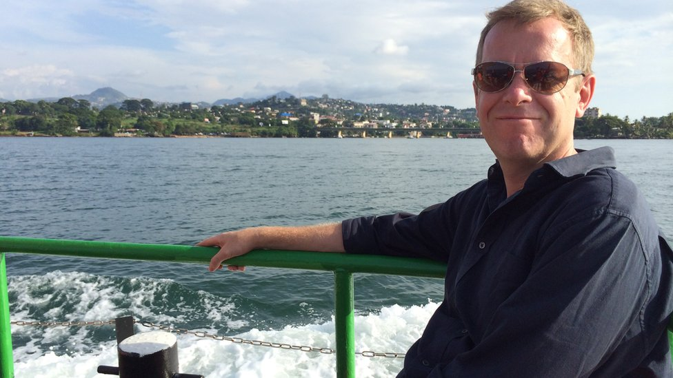 Andrew Harding heading to the airport in Sierra Leone
