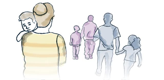 Ilustración gente caminando