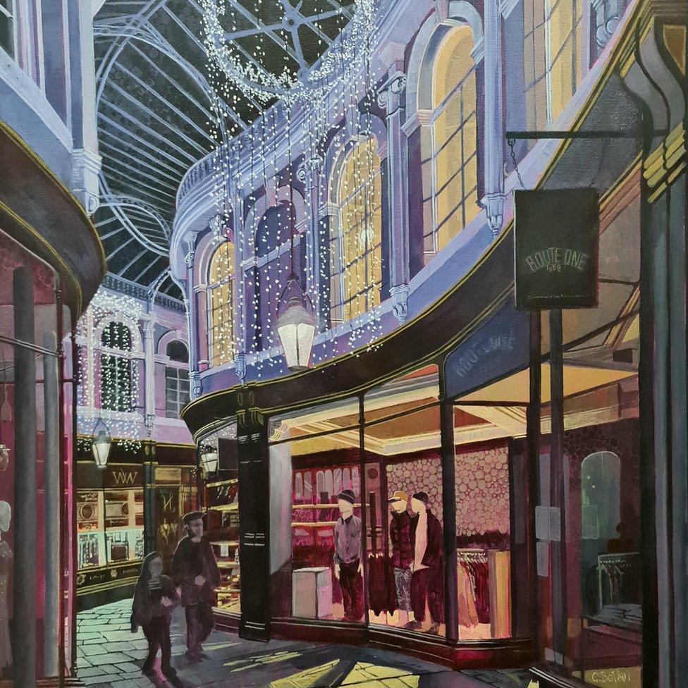 Carl's painting of the Morgan Arcade