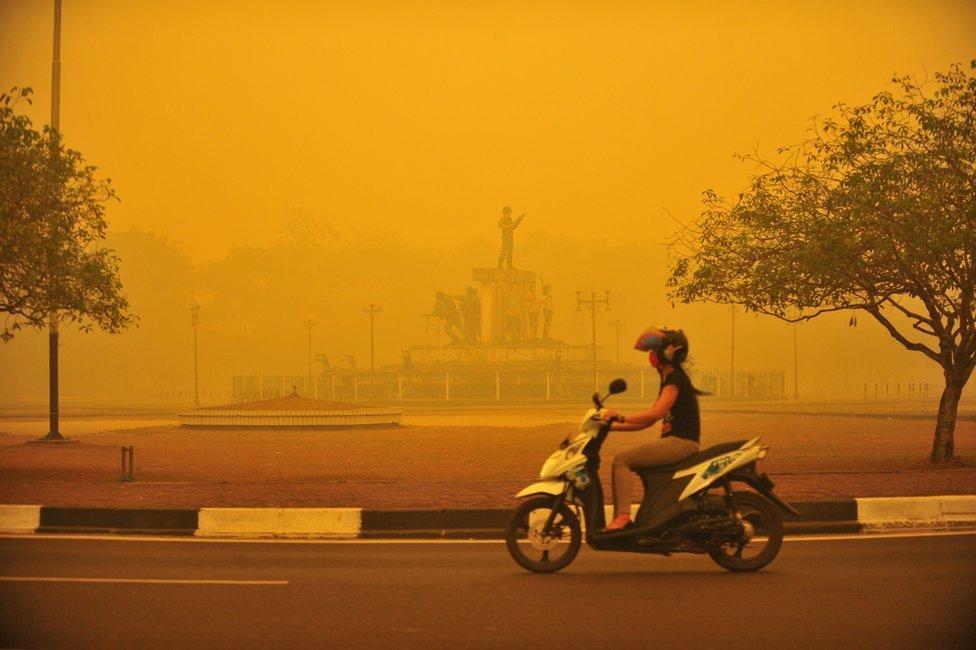 An Indonesian woman rides a motorbike amid thick yellow haze in Palangkaraya, Central Kalimantan province, Indonesia, 23 October 2015