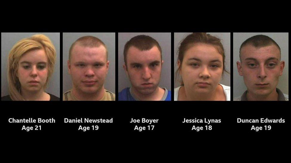 Los cinco condenados por el asesinato en 2010 de Gemma Hayter.
