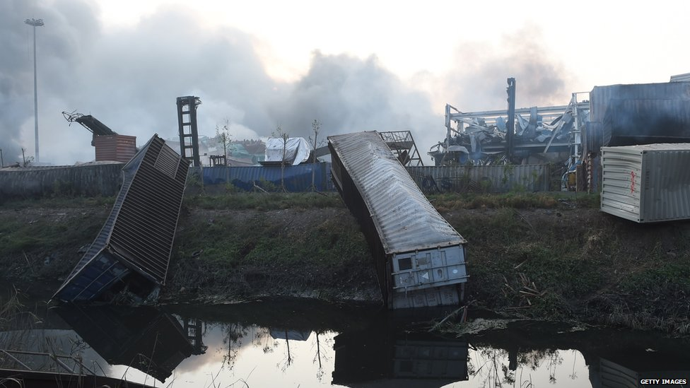 Containers were blown into canals (13 August 2015)