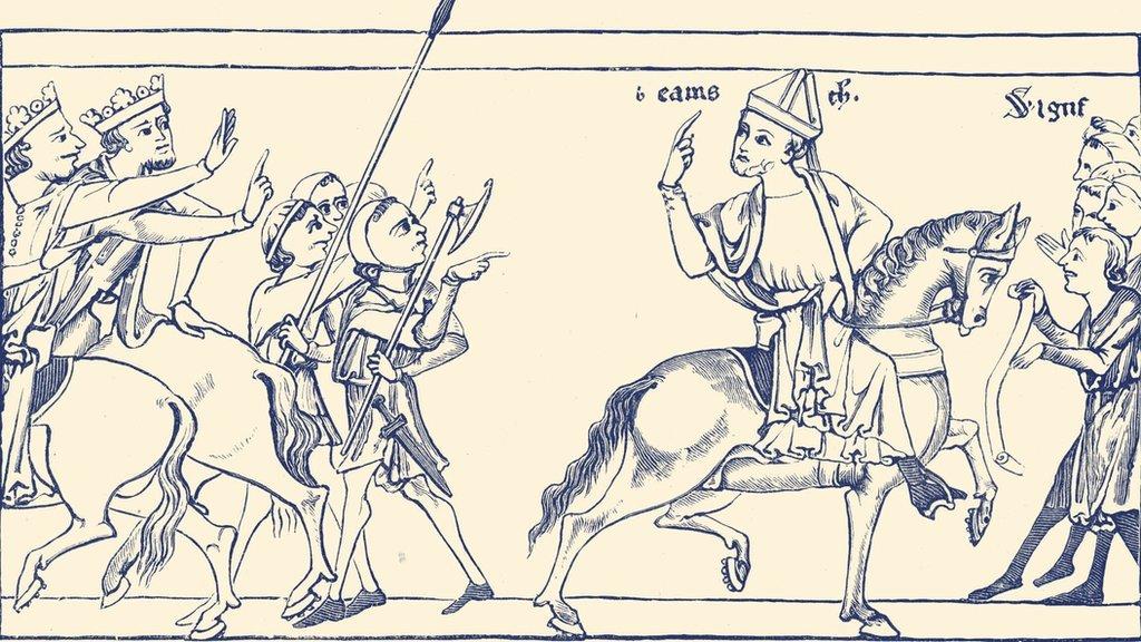 """Becket dejando a Enrique II y Luis VII, en el """"Becket Leaves"""""""