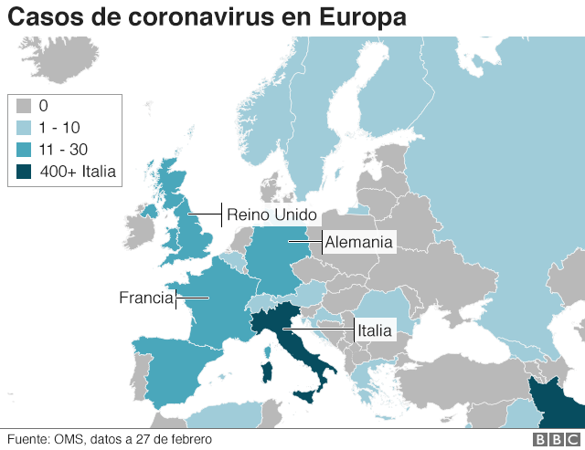 Mapa del coronavirus en Europa