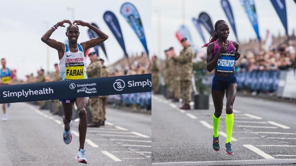 Mo Farah and Vivian Cheruiyot