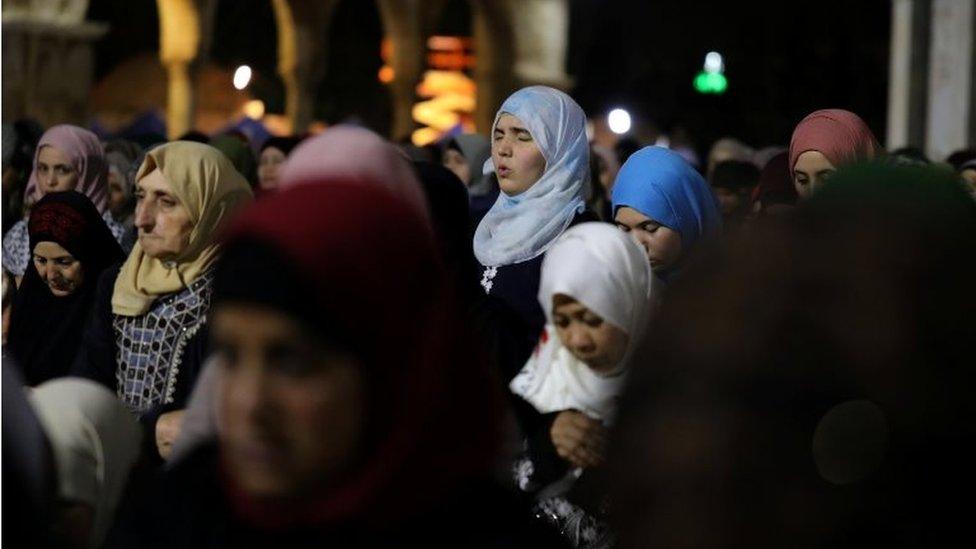 Muslim women pray in Jerusalem