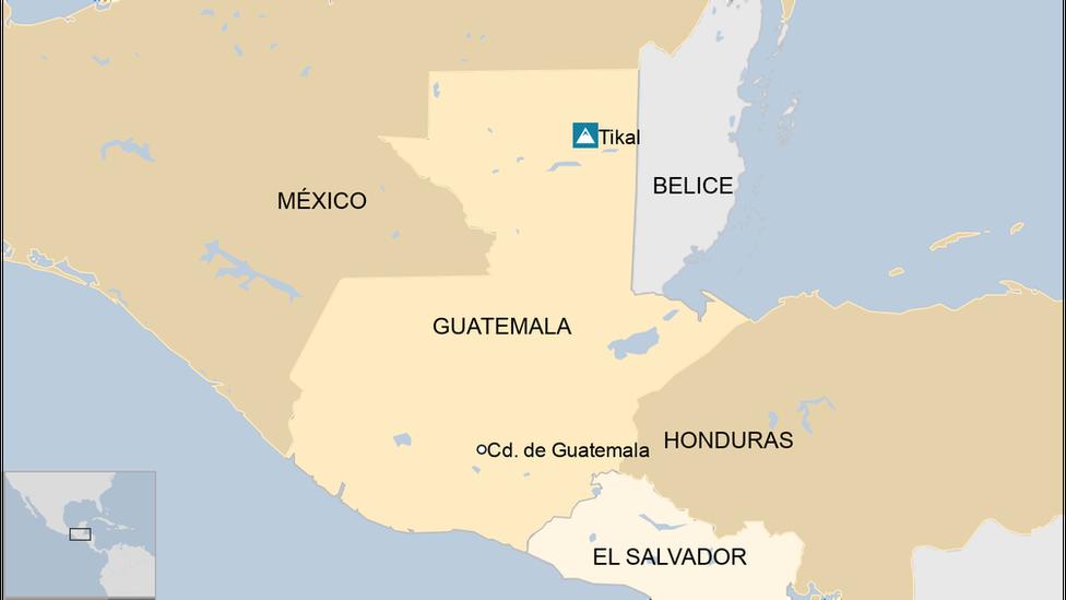 Mapa de la zona de tikal