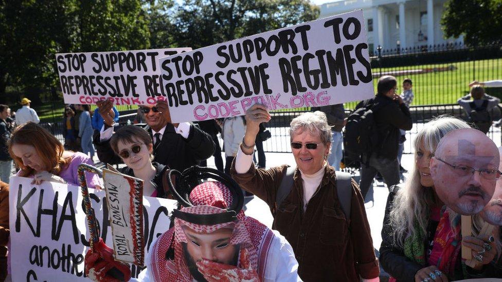 احتجاجات أمام السفارة السعودية في واشنطن عام 2019