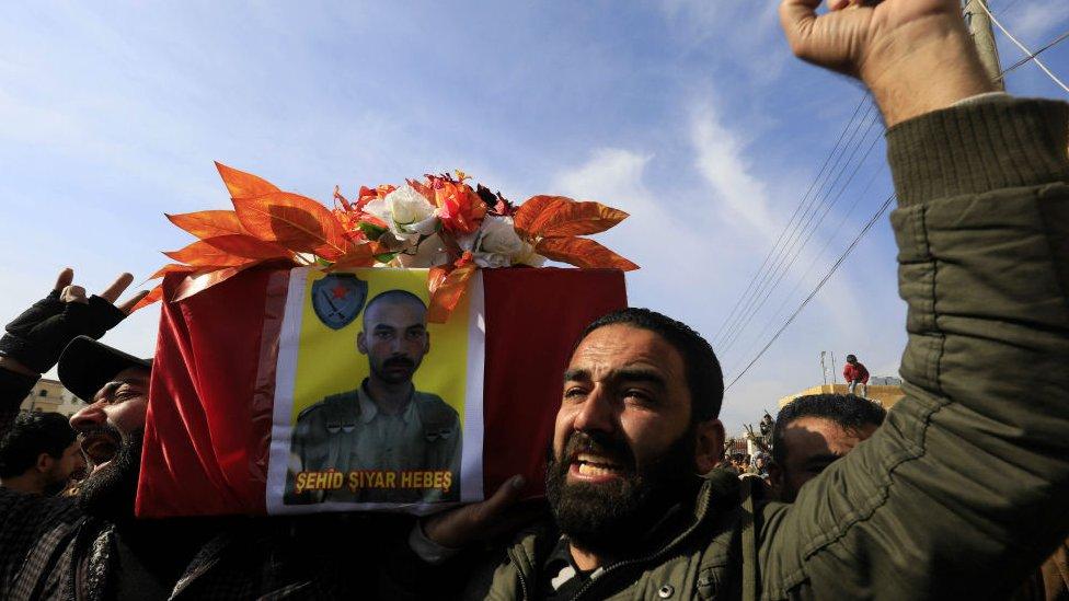 Funeral for YPG militia fighter in the northern Syrian city of Afrin on February 3, 2018