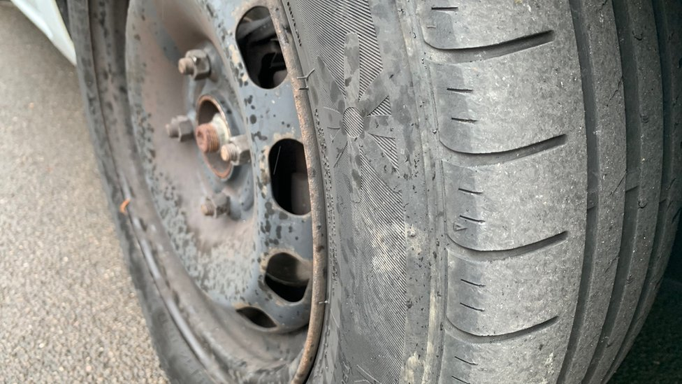 Used police car tyres sold online by force staff