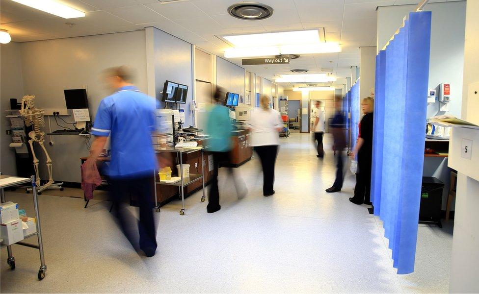Hospital staff on a ward