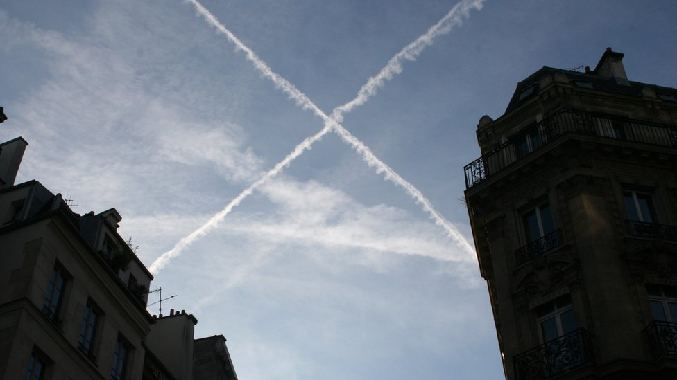 White aircraft trails in the sky