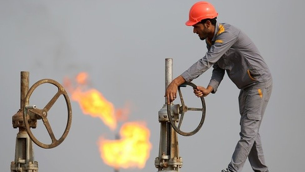 A worker on an Iraqi oil refinery