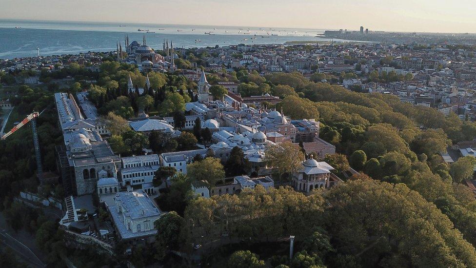 İstanbul Topkapı Sarayı Müzesi ve Ayasofya Müzesi (havadan görüntü)