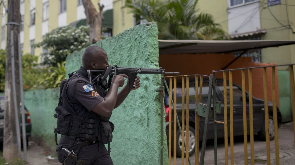 An armed military policeman during an operation in Rio de Janeiro