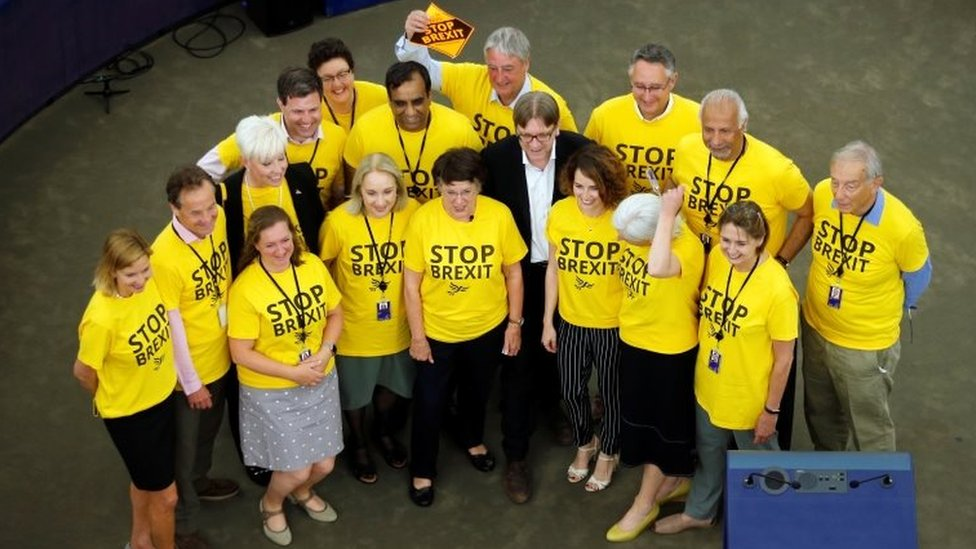 "Liberal Democrat MEPs wearing ""Stop Brexit"" t-shirts with Guy Verhofstadt"