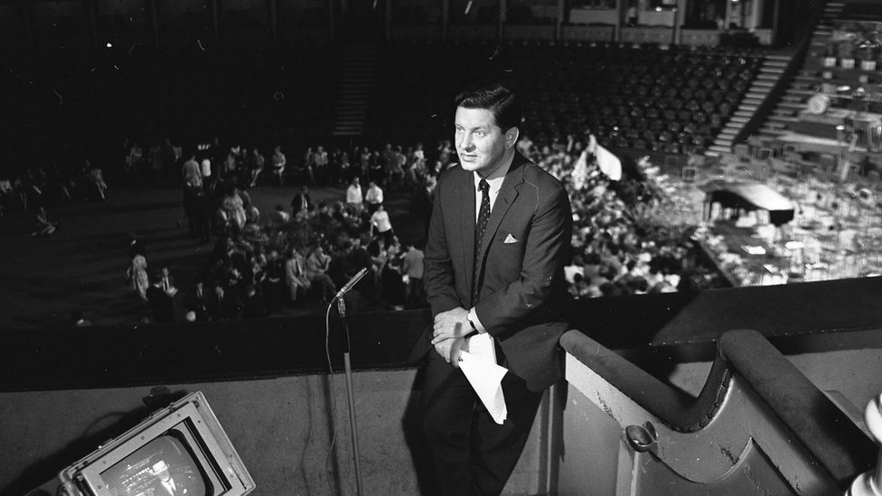 Richard Baker presenting the Proms in 1967