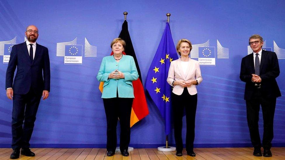 German Chancellor Angela Merkel (2nd L) was in Brussels ahead of the summit for talks with EU leaders Charles Michel, Ursula von der Leyen and David Sassoli