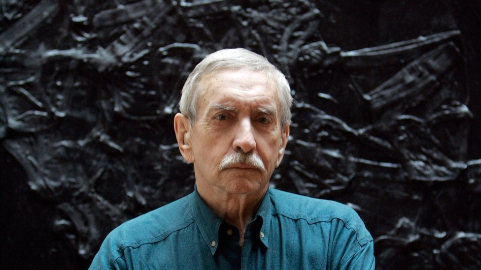 In this March 13, 2008, file photo, Edward Albee poses for a portrait in New York. The three-time Pulitzer Prize-winning playwright has died in suburban New York City at age 88