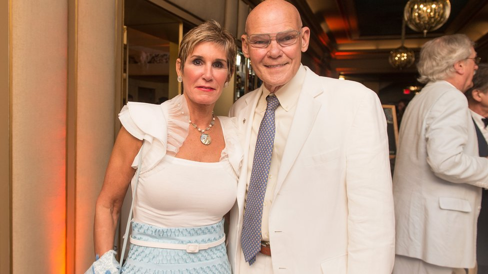 Mary Matalin and James Carville - standing with each other