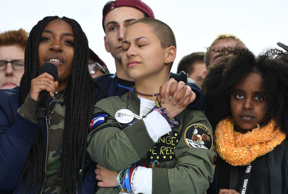 Emma Gonzalez stands with students from Marjory Stoneman Douglas High School