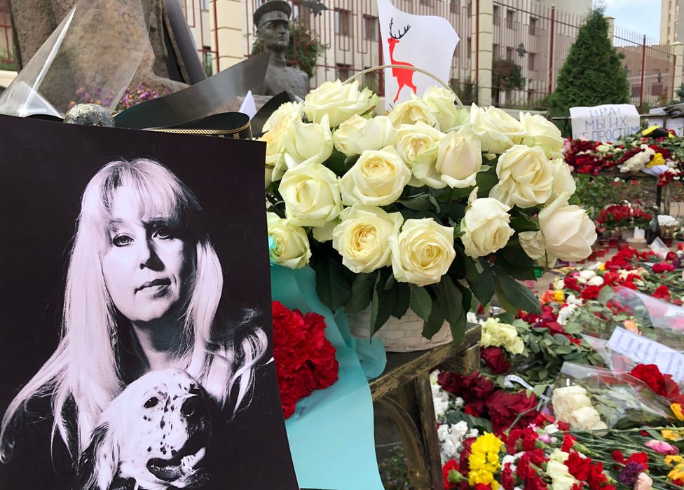 Flowers mark the spot where Irina Slavina set herself alight
