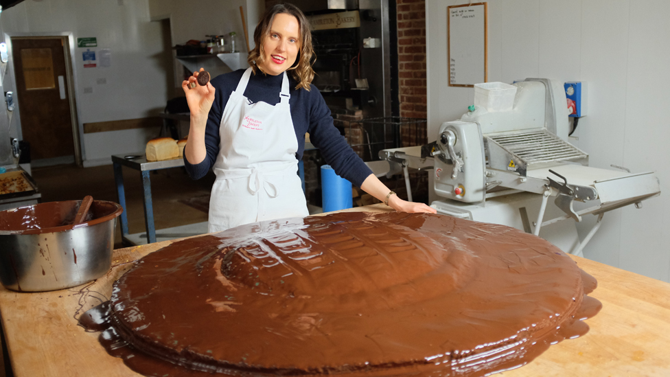 Frances Quinn with the record-breaking Jaffa Cake
