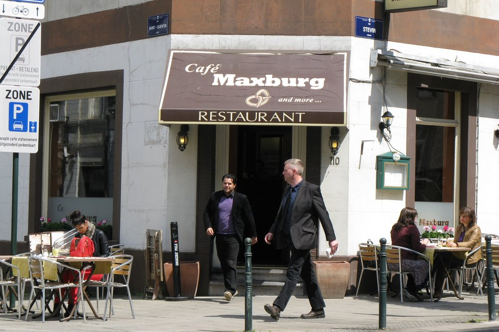 Brussels cafe in European Quarter, file pic