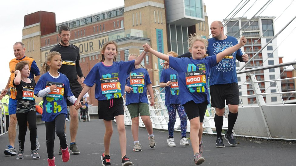 Runners participating in the Mini and Junior Great North Run