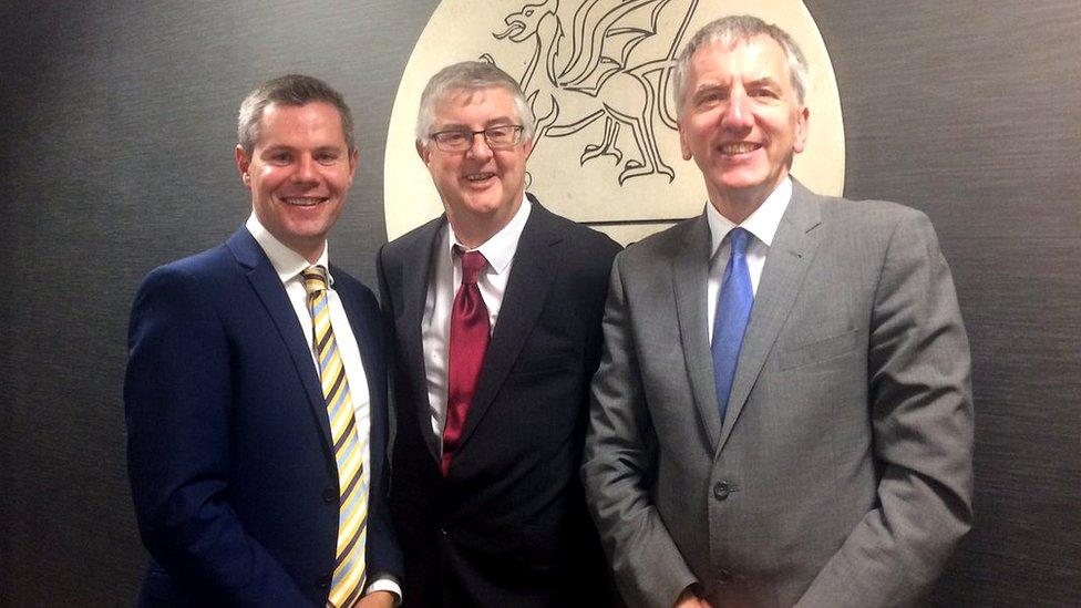 Scottish Finance Secretary Derek Mackay, his Welsh counterpart Mark Drakeford and Northern Ireland's Máirtín Ó Muilleoir met in Cardiff on Monday