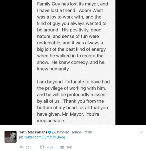 Seth McFarlane tweet: Family Guy has lost its mayor and I have lost a friend.