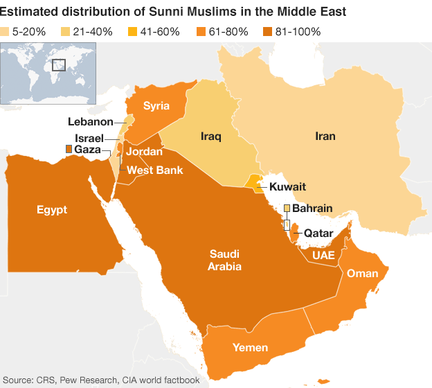A map of Sunni populations in the Middle East