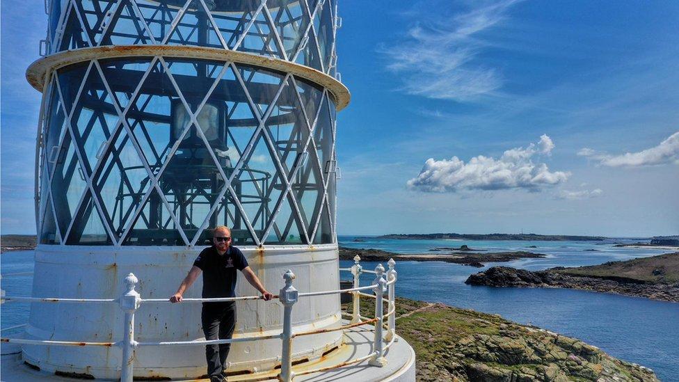 Scott Tacchi at a lighthouse