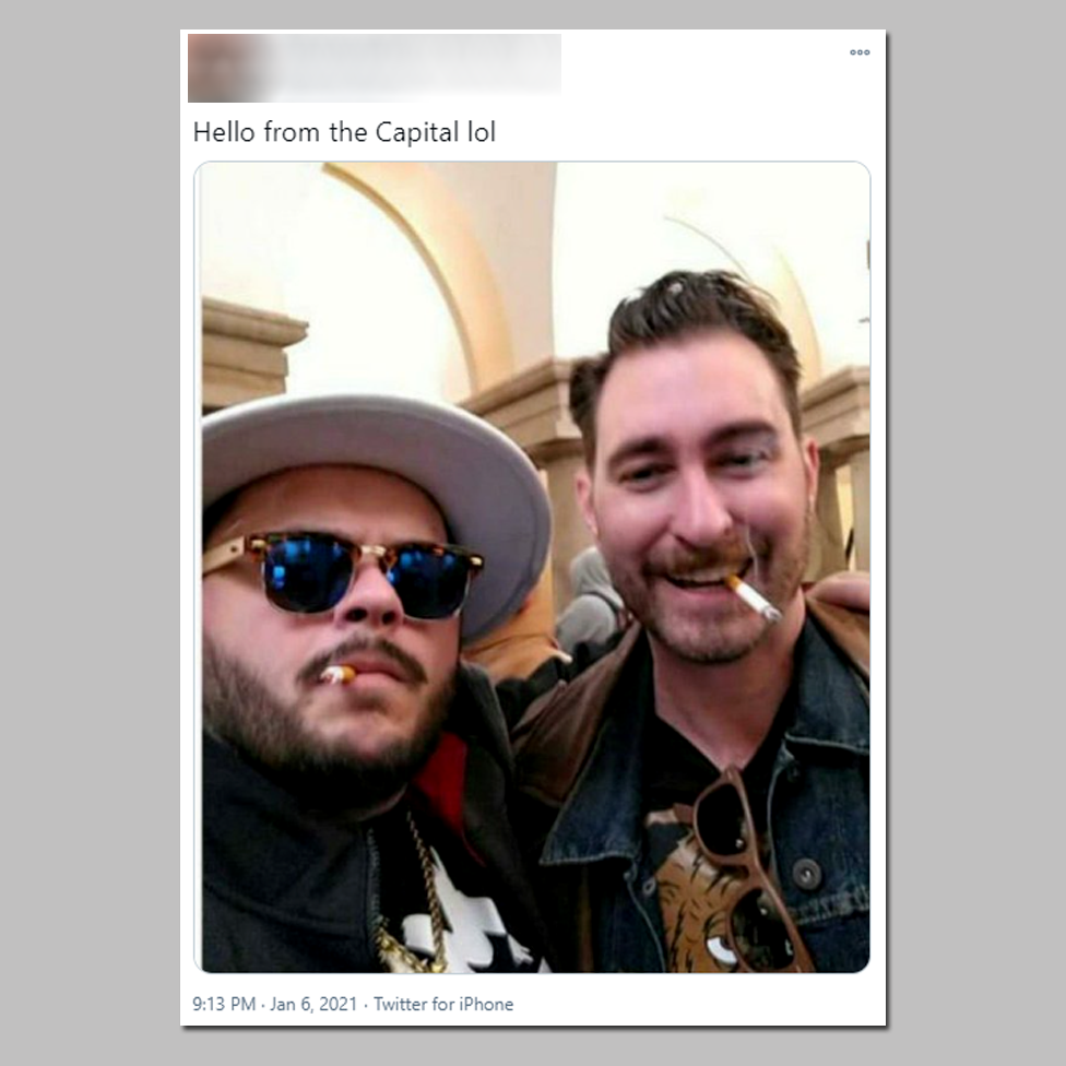 "The individual on the right is Nick Ochs, who describes himself as a ""Proud Boy Elder""."