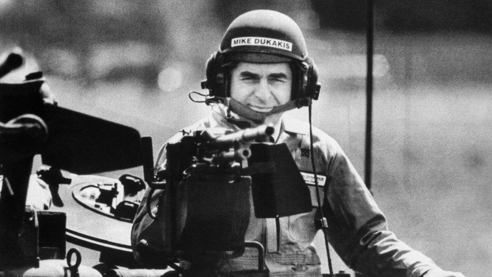 Michael Dukakis in tank