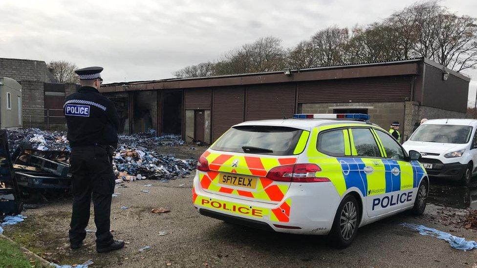 Police at fire scene in Aberdeen