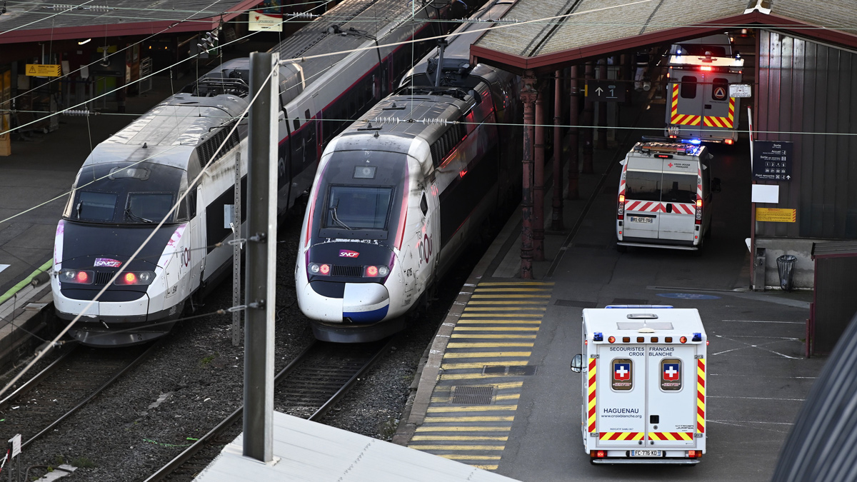 Ambulances stand by to load patients affected with coronavirus (Covid-19) aboard a medicalised TGV (high-speed train) in Strasbourg, France on March 26, 2020