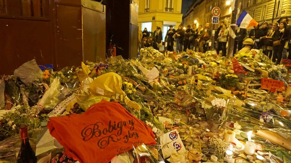 Flowers commemorating the victims of the Paris attack in November 2015