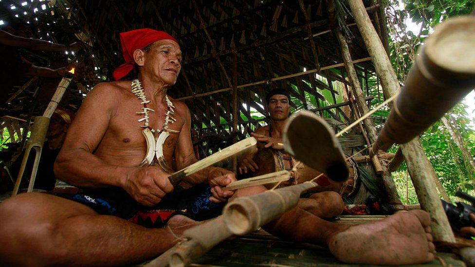 The Dayak tribe in south Kalimantan