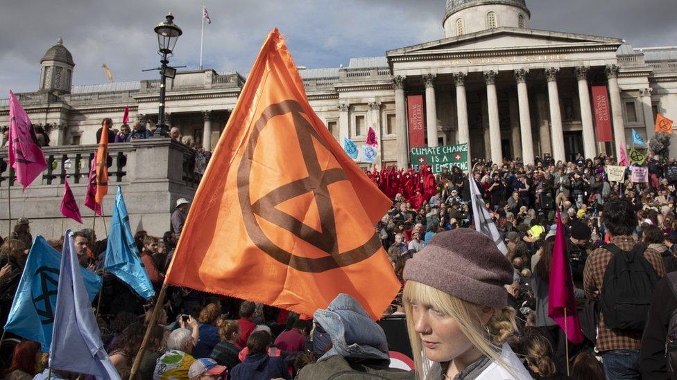 Extinction Rebellion protest in Trafalgar Square