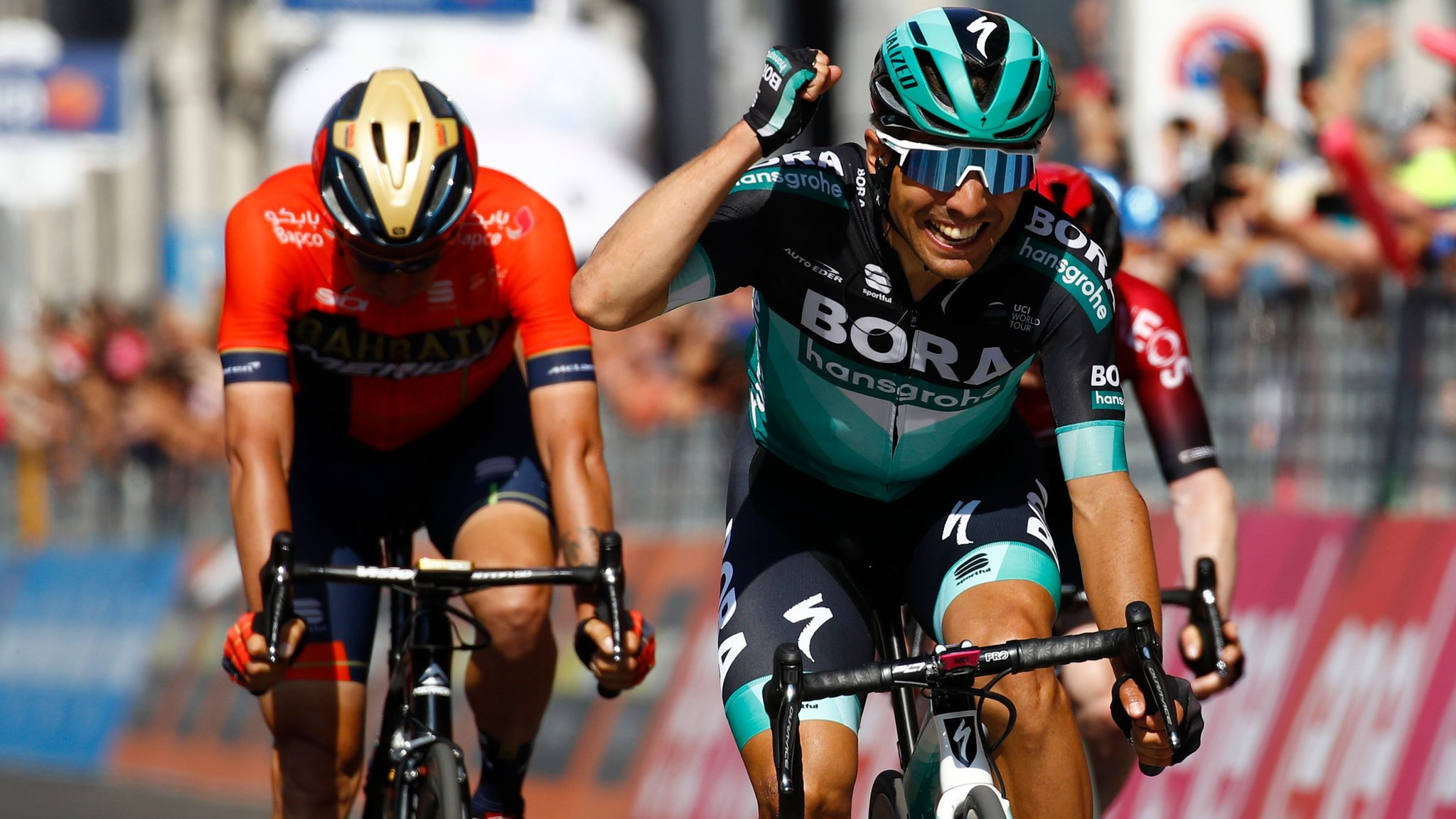 Giro d'Italia: Cesare Benedetti wins stage 12 in opening day of the Alps