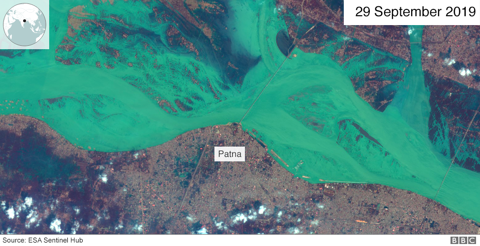 A satellite image of the Ganges river overflowing on 29 September 2019