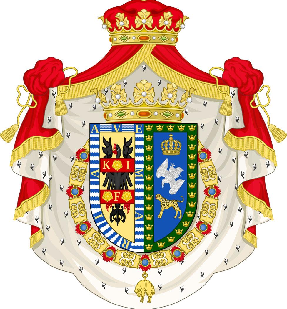 El escudo de armas de los Duques de Moctezuma de Tultengo.
