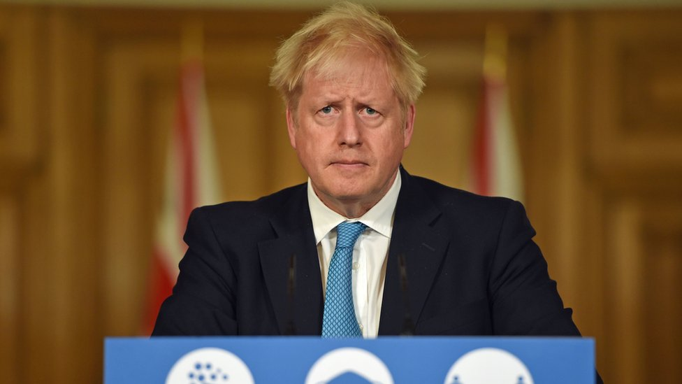 Boris Johnson at a Downing Street press briefing