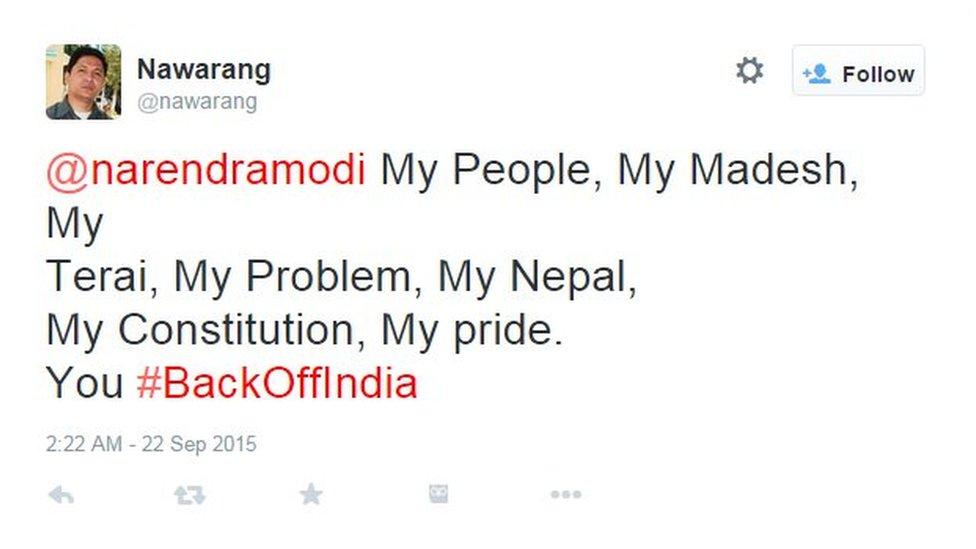 @narendramodi My People, My Madesh, My Terai, My Problem, My Nepal, You #BackOffIndia