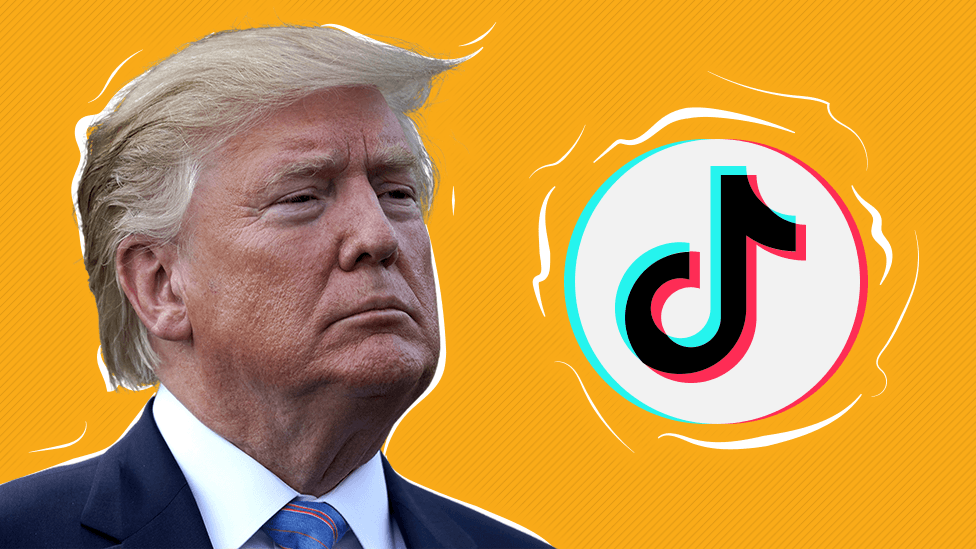 Trump and TikTok logo